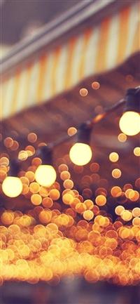 City light blue bulbs romantic street iPhone X wallpaper
