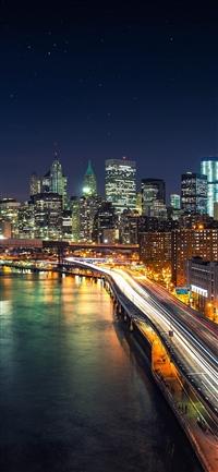 Night city view lights bridge iPhone X wallpaper