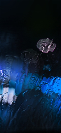 Raining window bokeh blue light iPhone X wallpaper