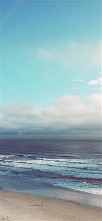 Ocean blue sky cloud nature flare iPhone wallpaper