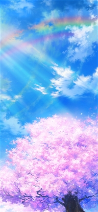 Anime sky cloud spring art illustration iPhone X wallpaper