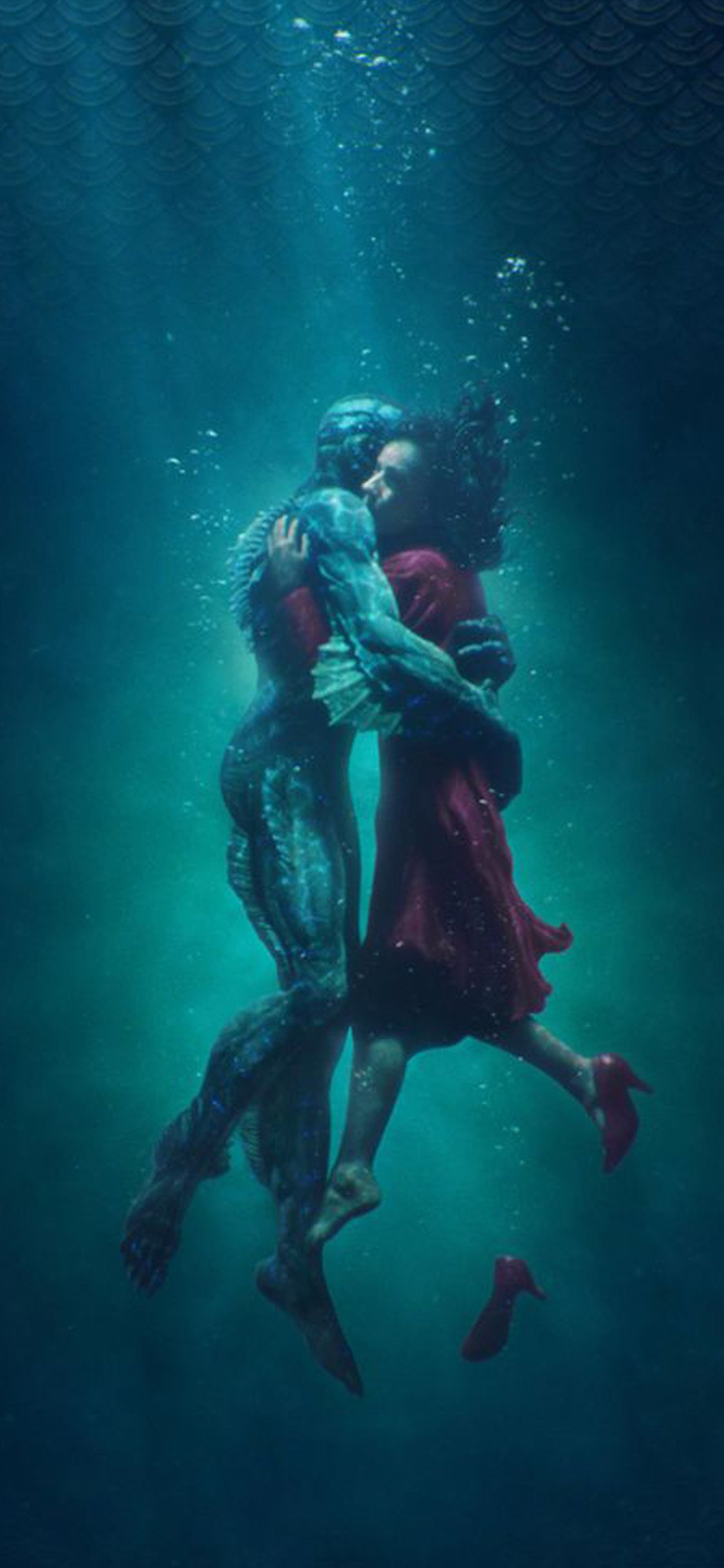 Shape of water poster film art illustration iPhone X wallpaper
