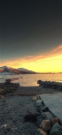 The beach sea mountain iPhone X wallpaper