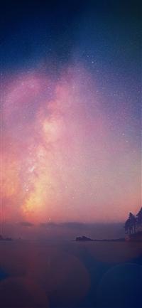 Night sky star falling blue aurora iPhone X wallpaper