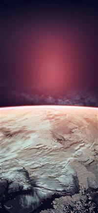 Space red winter dark art iPhone X wallpaper
