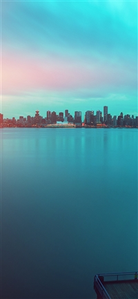 Lake city green flare afternoon iPhone X wallpaper