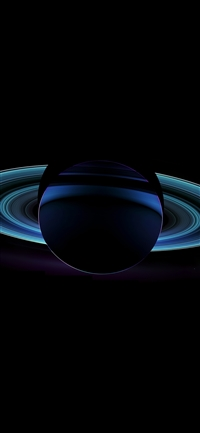 Saturn far blue space dark iPhone X wallpaper