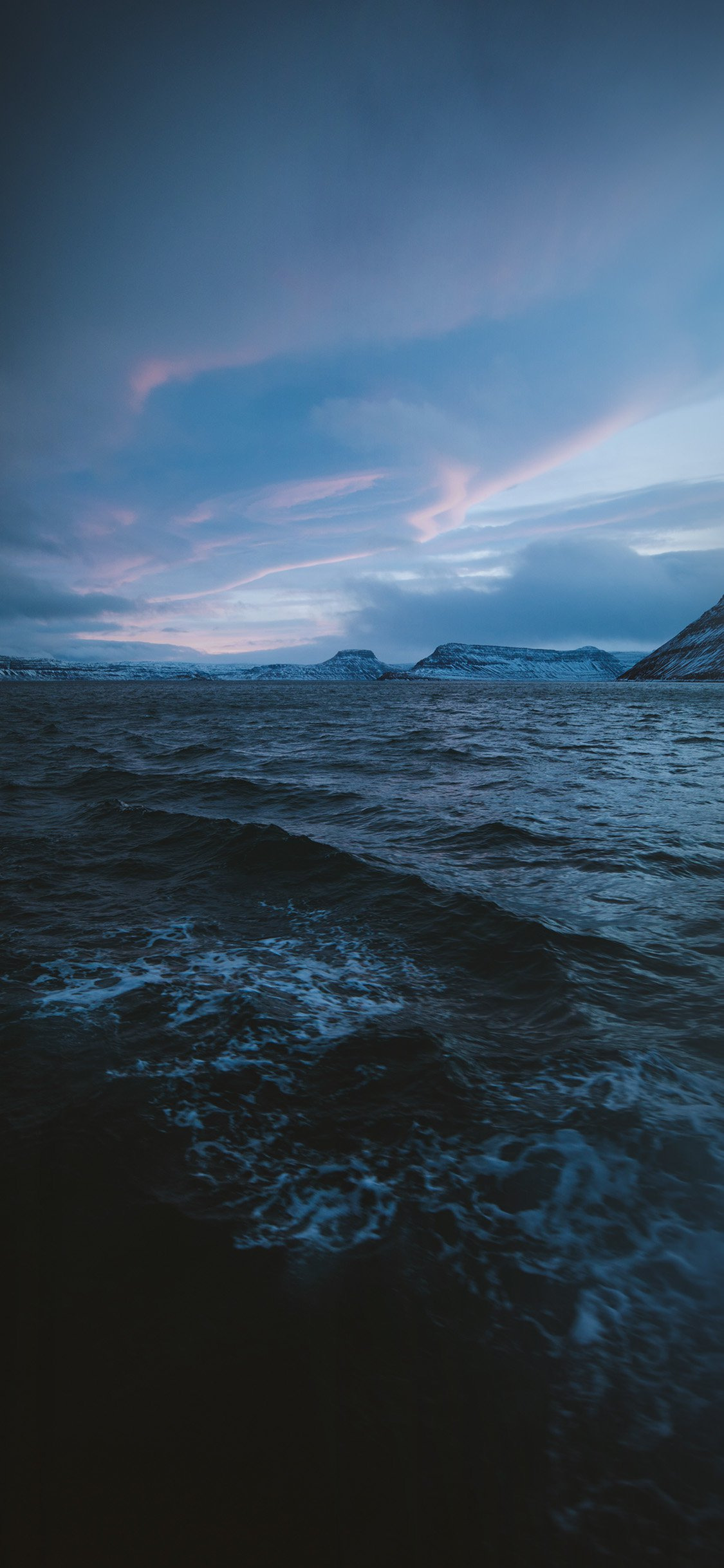 Night sea wave sunset iPhone X wallpaper
