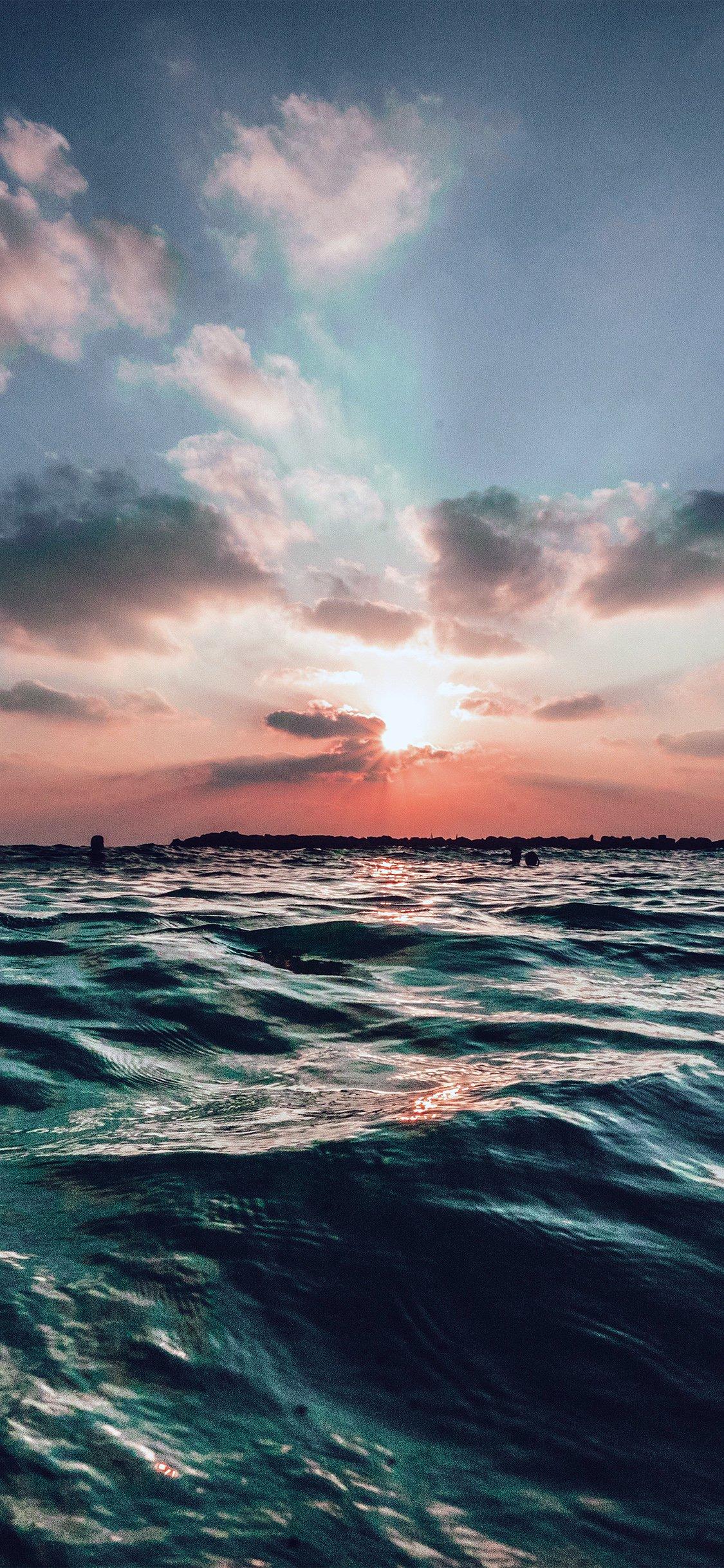 Sunset sea sky iPhone X wallpaper