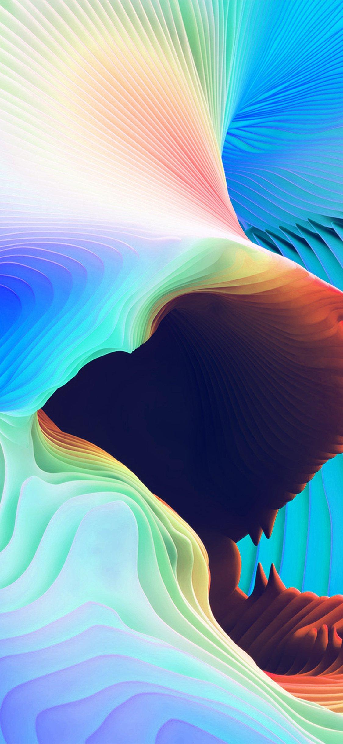 Curve art rainbow pattern iPhone X wallpaper