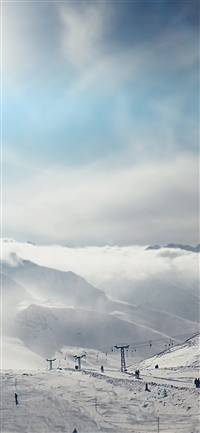 Snow ski winter play mountain iPhone X wallpaper