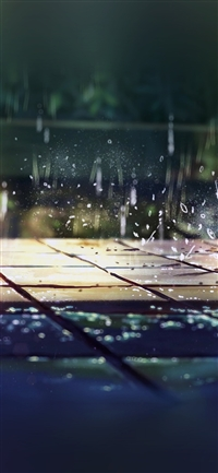 Rainning illustration art iPhone X wallpaper