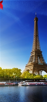 Sky blue Eiffel tower iPhone X wallpaper