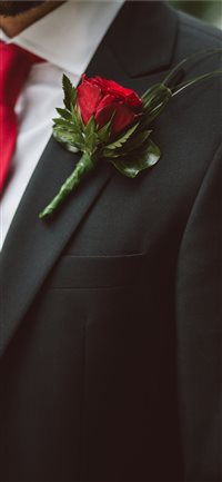 Groom-wearing-a-red-flower iPhone X wallpaper