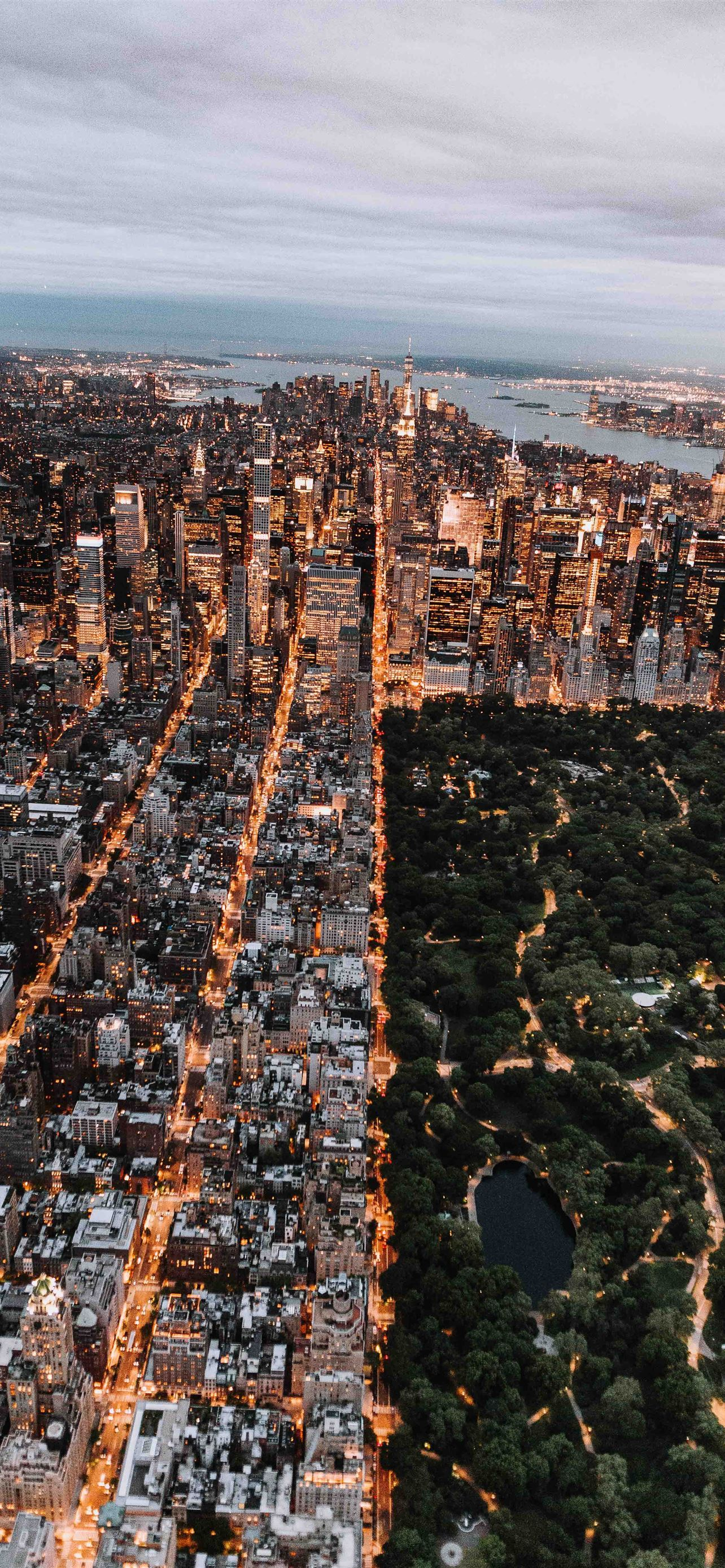 Aerial Of Central Park And New York City Iphone X Wallpaper Download