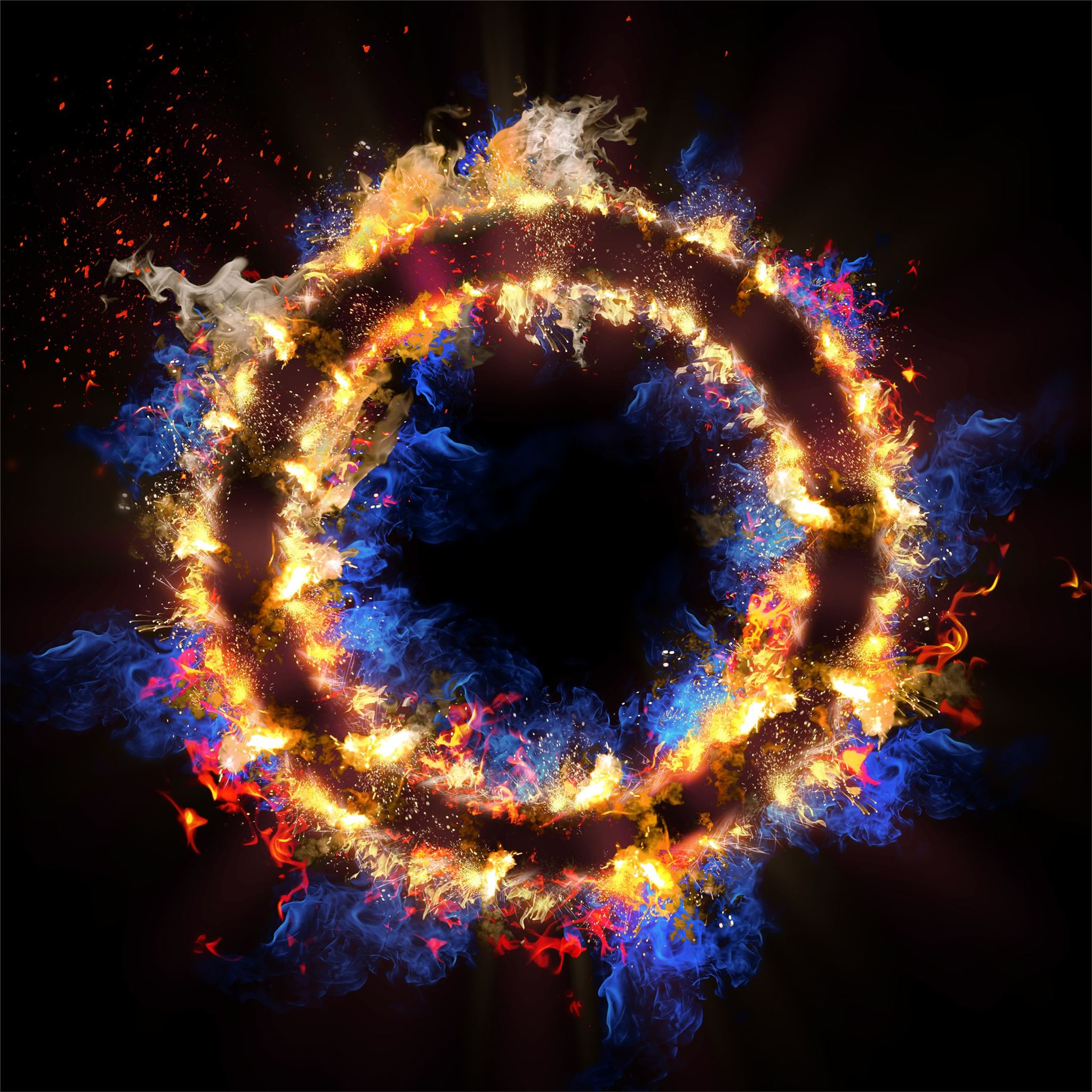 Flame Circle 3d Abstract 5k IPad Air Wallpapers Free Download