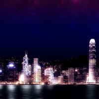 Hong Kong Night iPad Air wallpaper