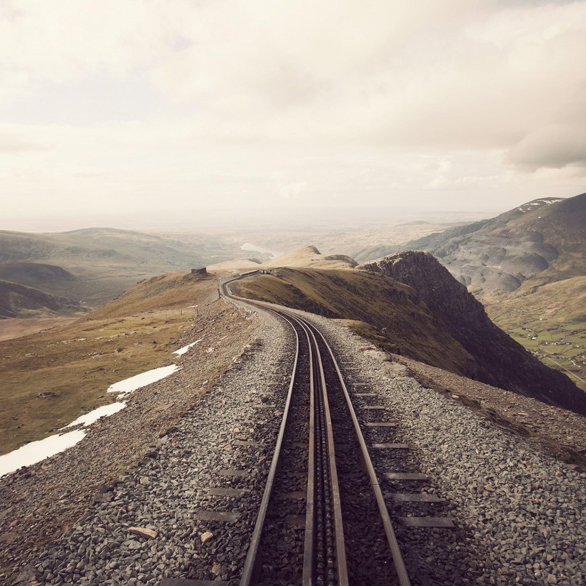 Mountains Clouds Landscapes Railroad Tracks iPad Air wallpaper