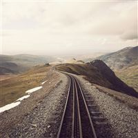 Mountains Clouds Landscapes Railroad Tracks iPad wallpaper
