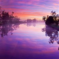 Purple river reflection iPad wallpaper