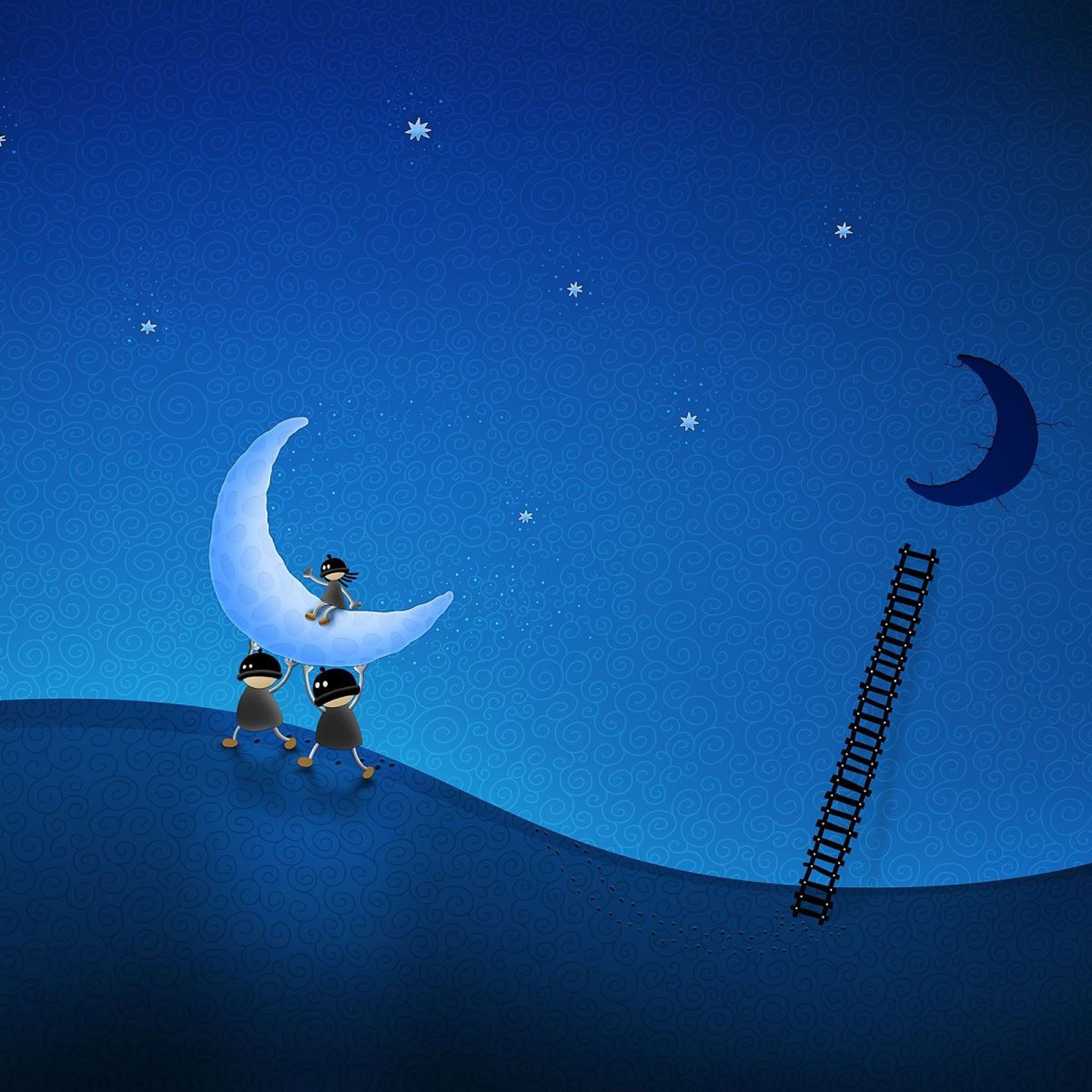 Ladder Moon Thieves Figure iPad Air wallpaper