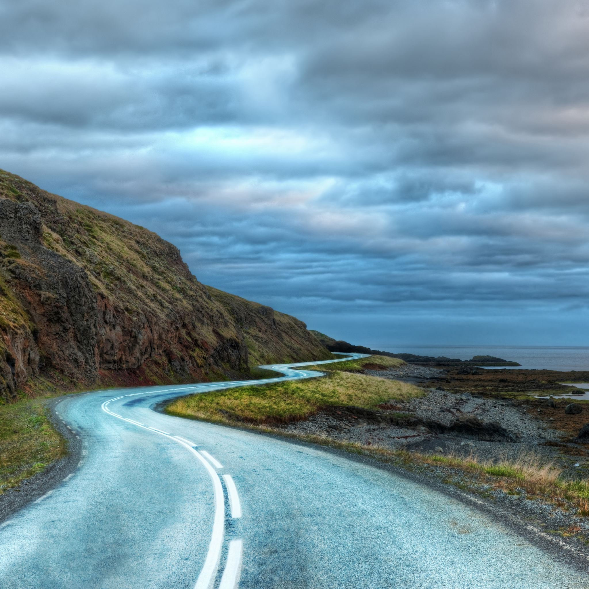 Curvy road around iceland iPad Air wallpaper
