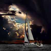 Navigation Sea Dark Clouds Storm iPad Air wallpaper