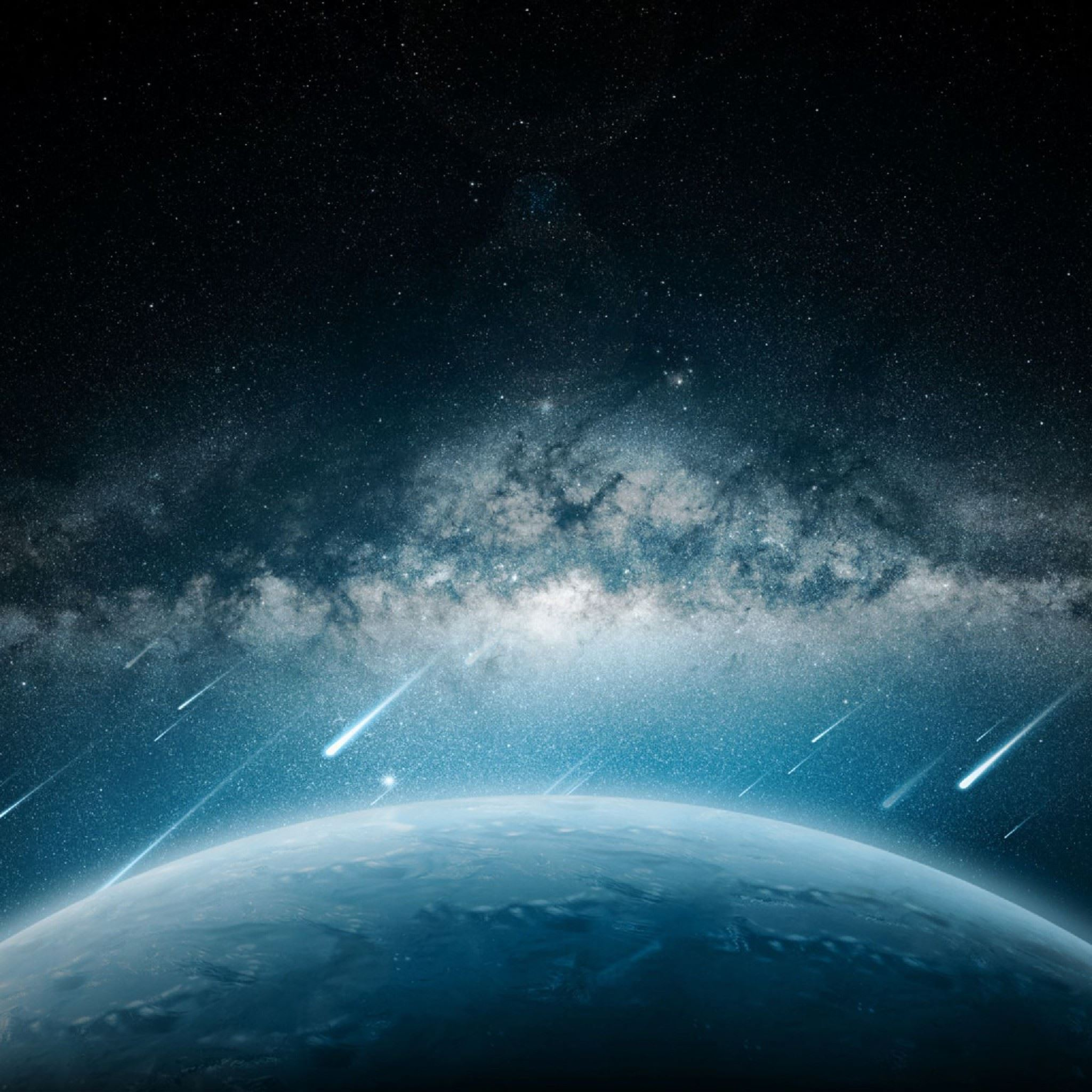 Space Meteorite Planet Rain iPad Air Wallpaper Download ...