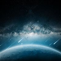 Space Meteorite Planet Rain iPad wallpaper