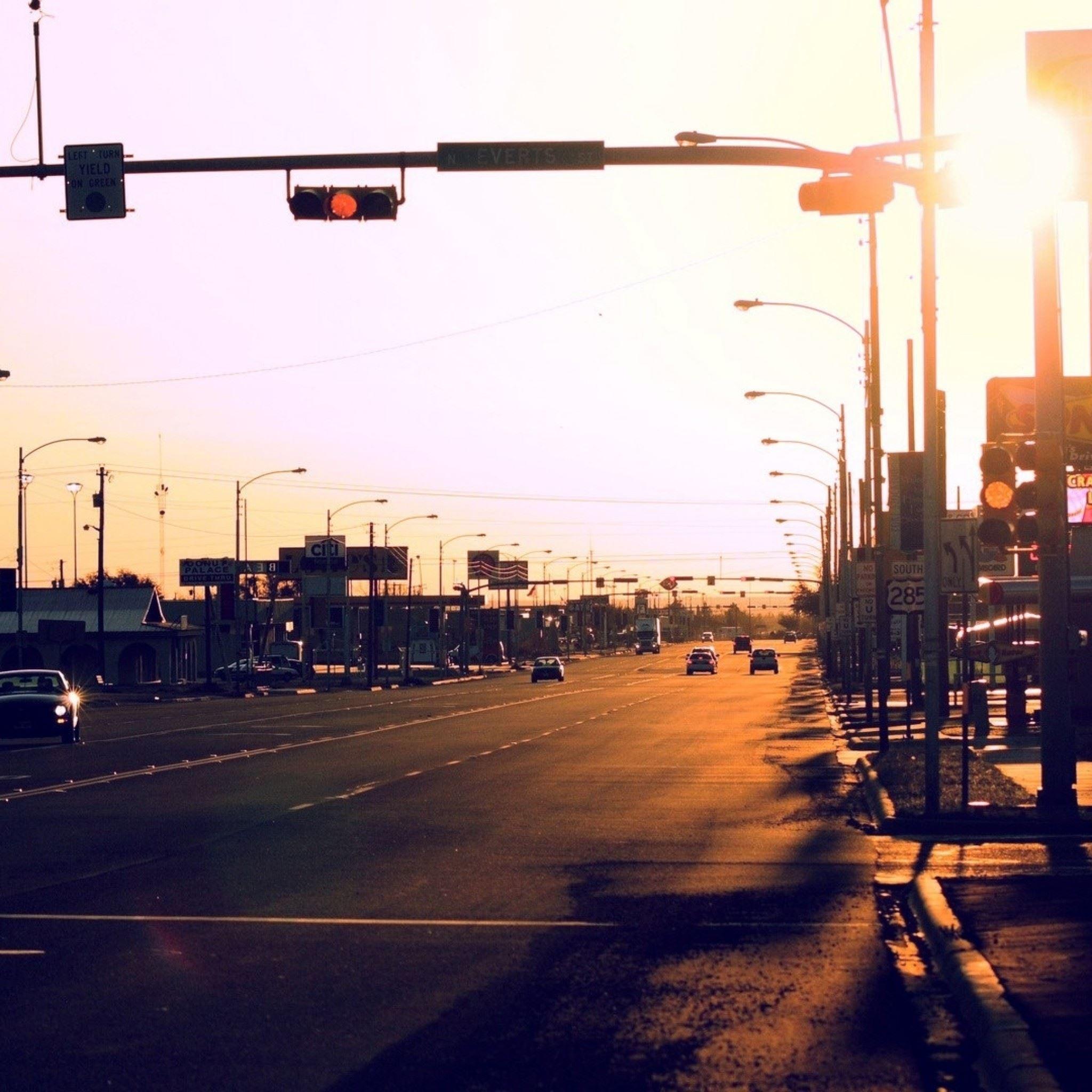 ... Sunset Street Traffic Light Car iPad Air wallpaper.