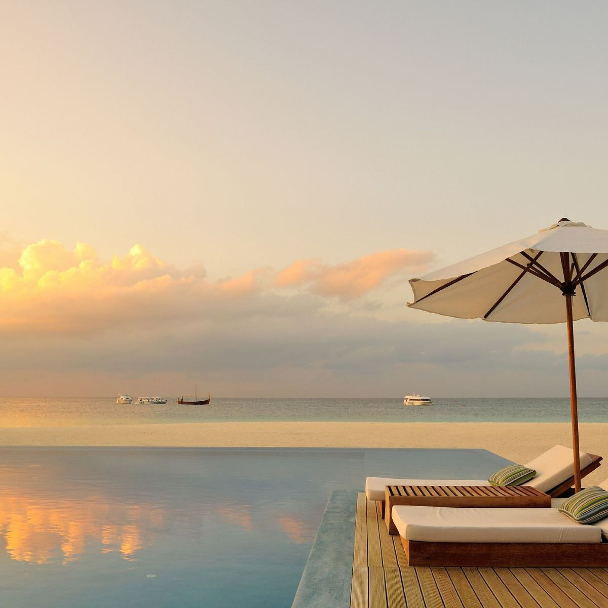 Summer Pool Sunset IPad Air Wallpapers Free Download