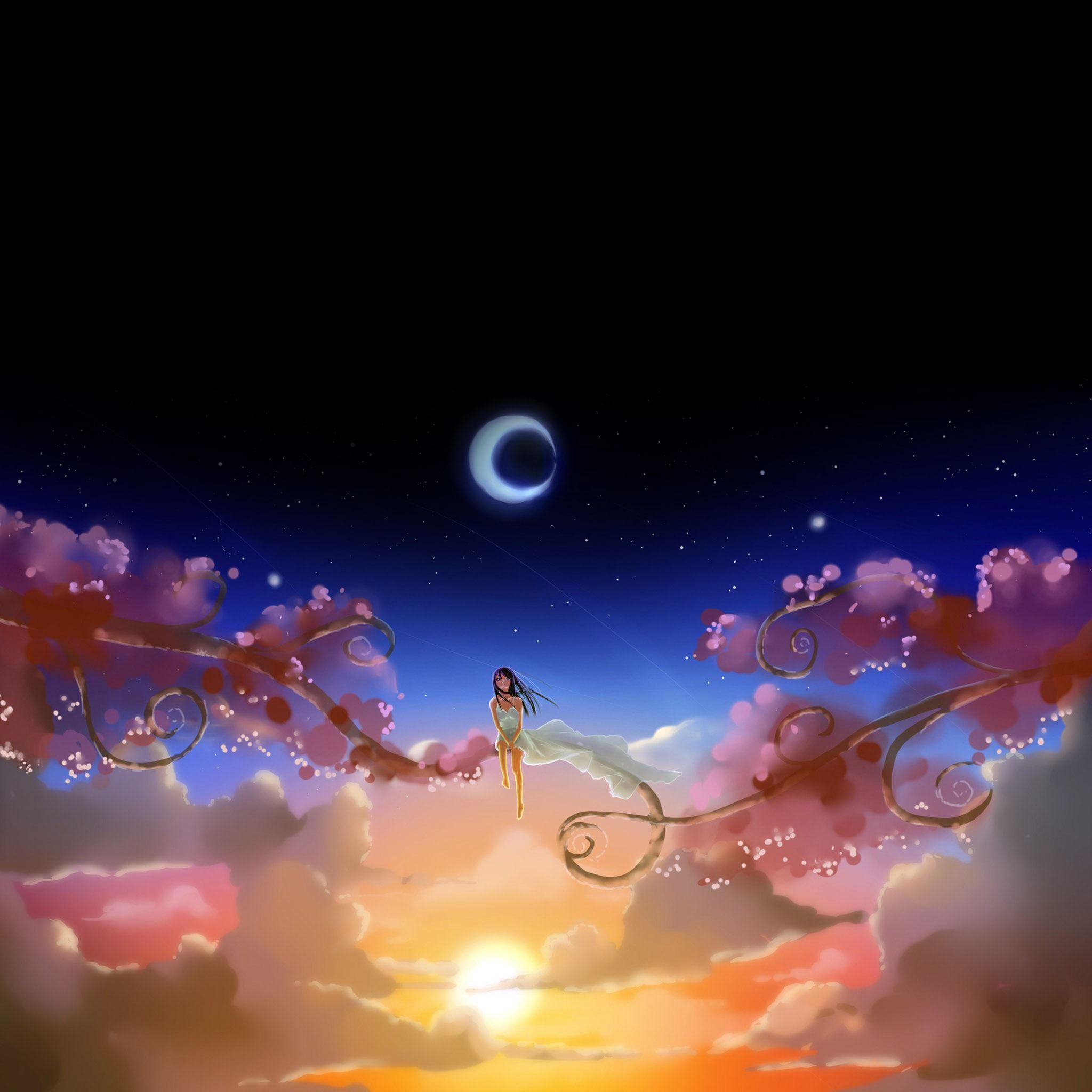 Anime Girl Dream Moon Ipad Air Wallpaper