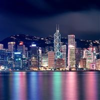 Hong Kong Night Skyscrapers Reflections iPad wallpaper