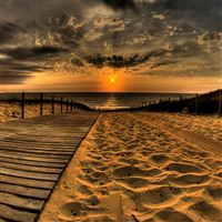 Nature Beach Bridge Landscape iPad Air wallpaper