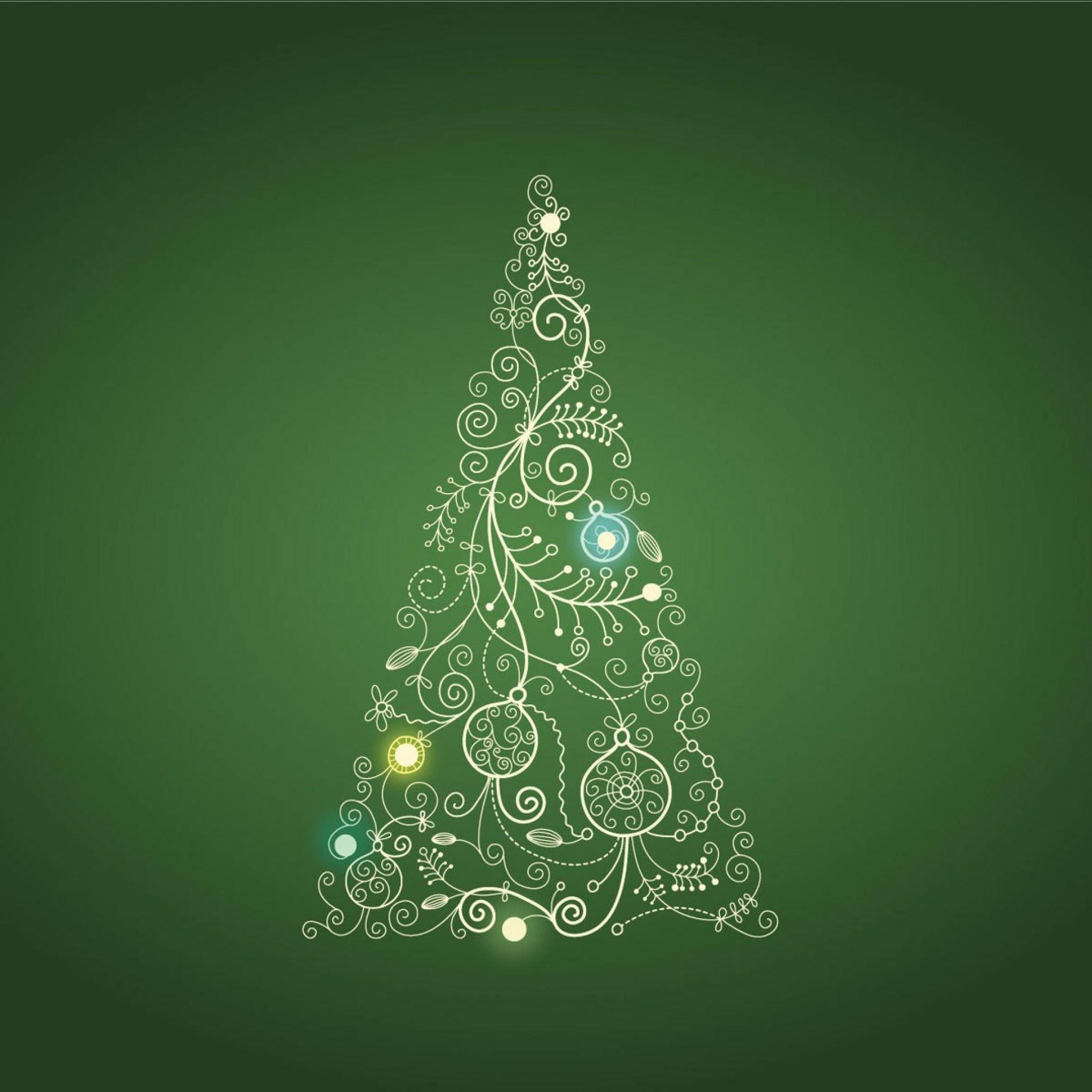 Christmas Tree On Green Background Illustration IPad Air