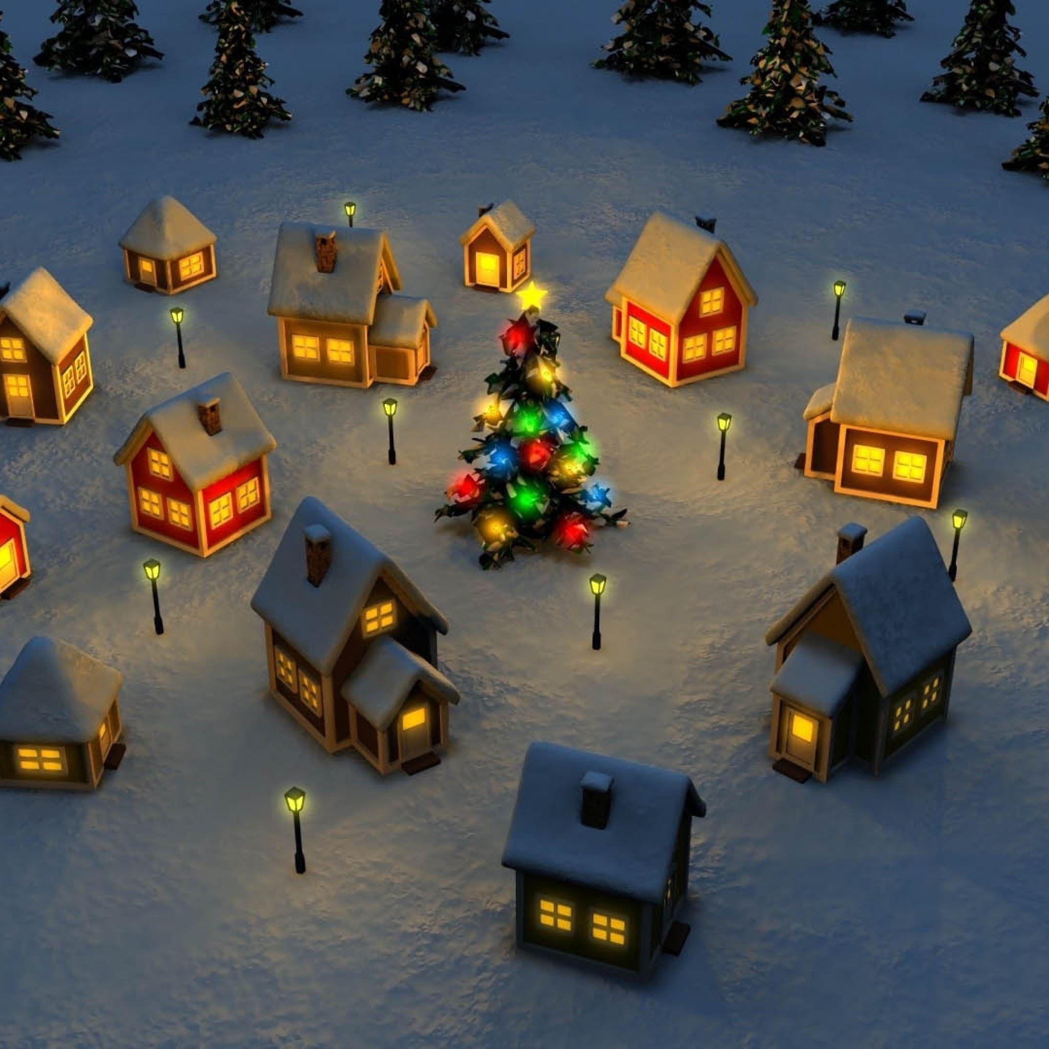Christmas Village Illustration Ipad Air Wallpapers Free Download