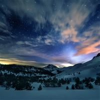 Aurora Star Sky Snow Mountain Winter Nature iPad Air wallpaper