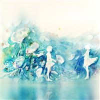 Watercolor Blue Girl Nature Art Illust iPad Air wallpaper