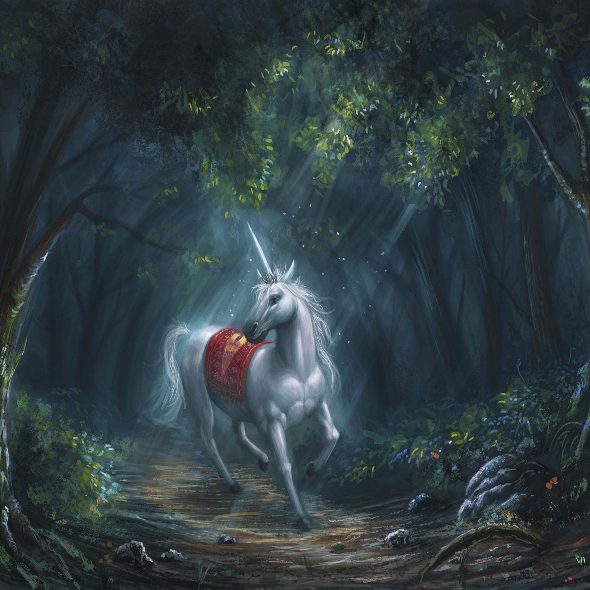 Woodland Unicorn Artwork iPad Air wallpaper