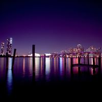 Waterfront City Night Scene iPad Air wallpaper