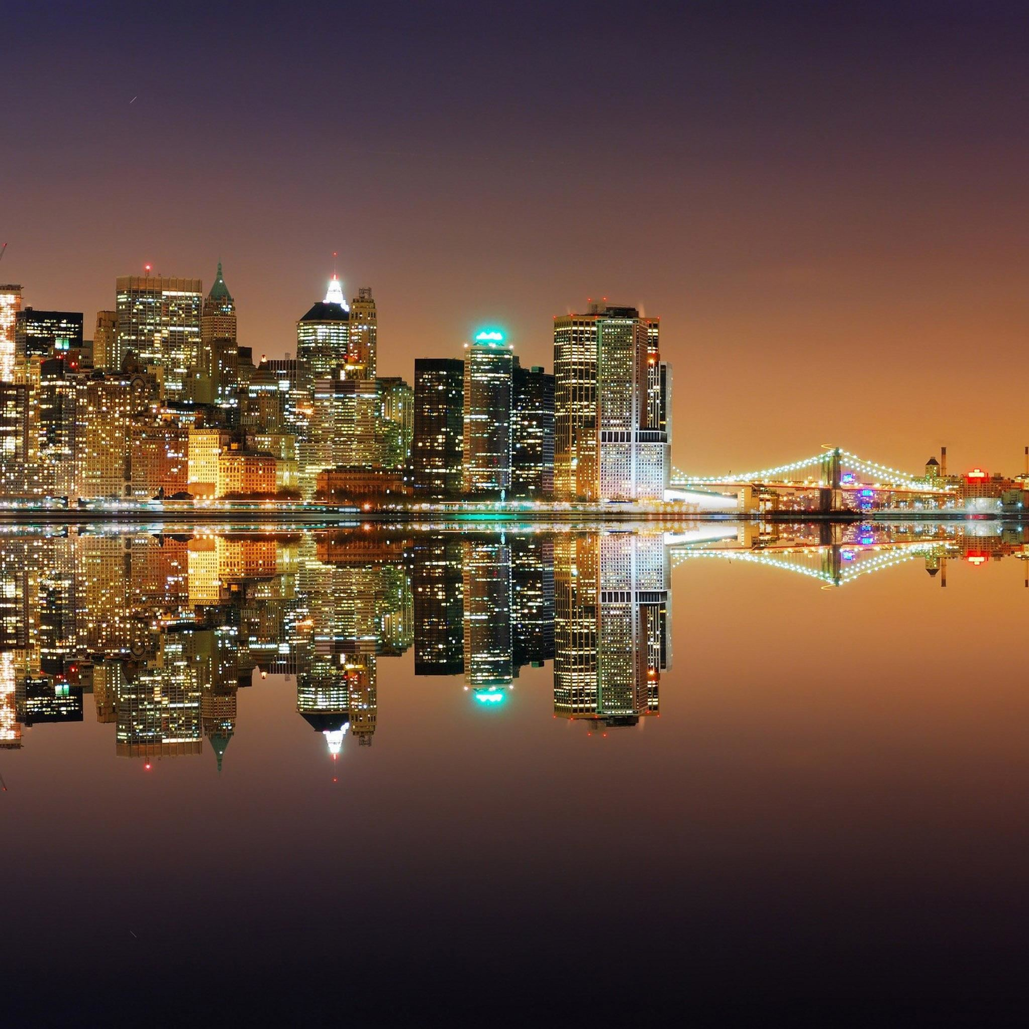 Lively Night Cityscape River Bank iPad Air wallpaper