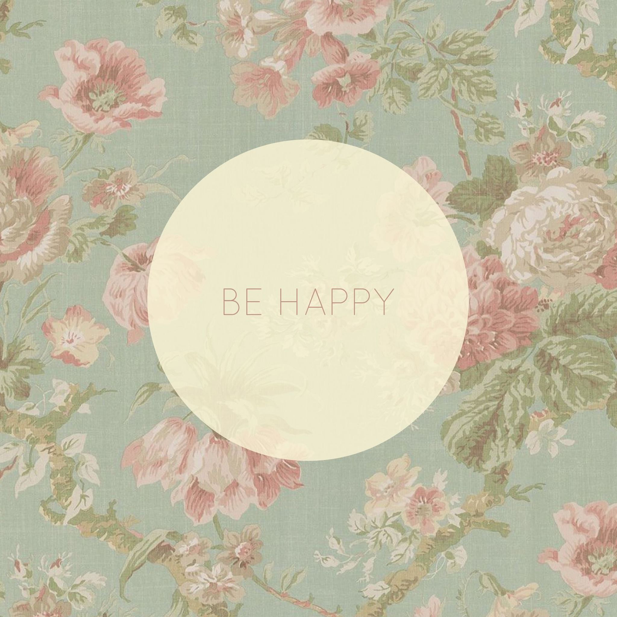 Be Happy Vintage Floral Pattern Ipad Air Wallpapers Free Download
