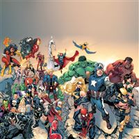 Super Avengers Marvel Comic Drawn Art iPad Air wallpaper