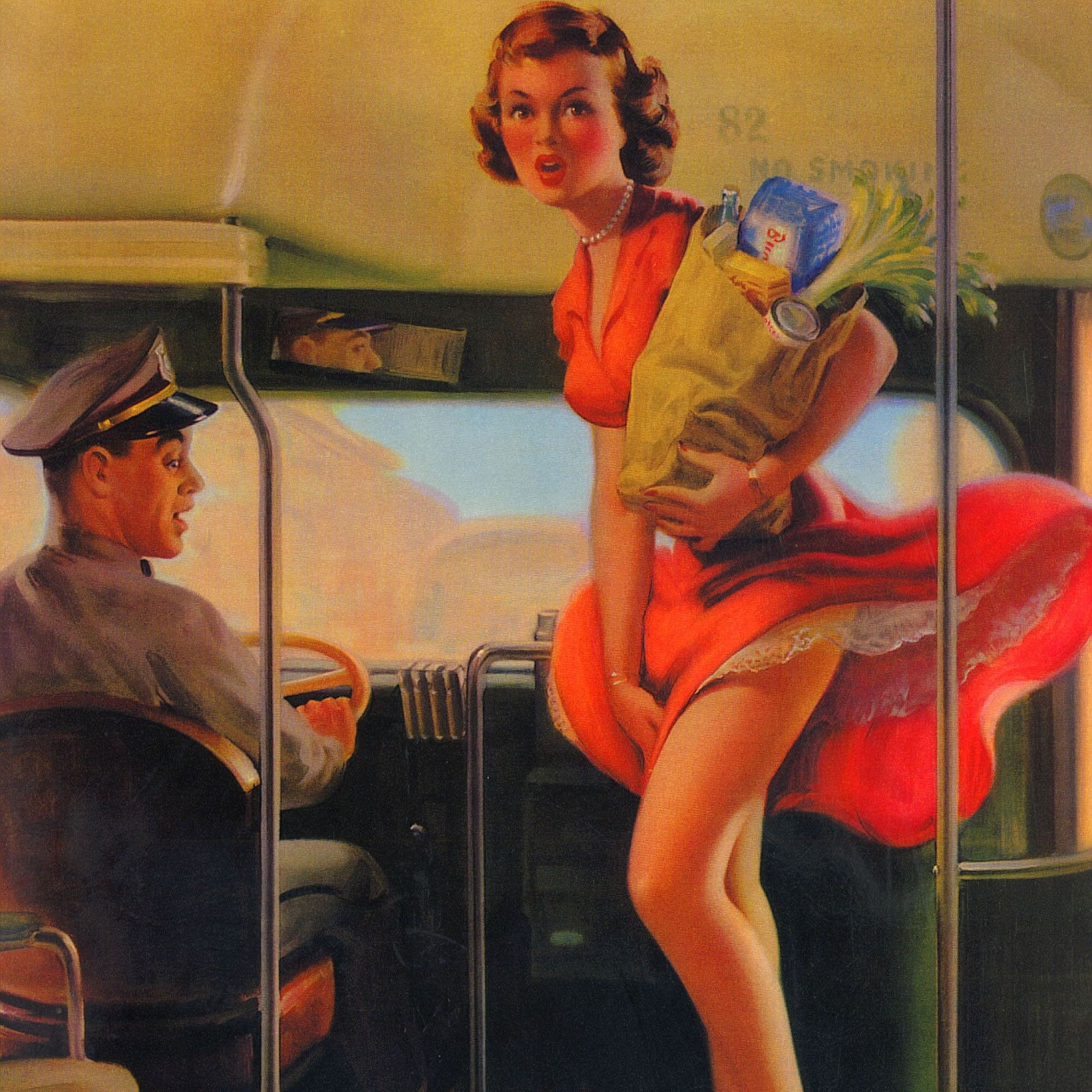 Bus Rider Pin Up Girl Painting Art iPad Air wallpaper