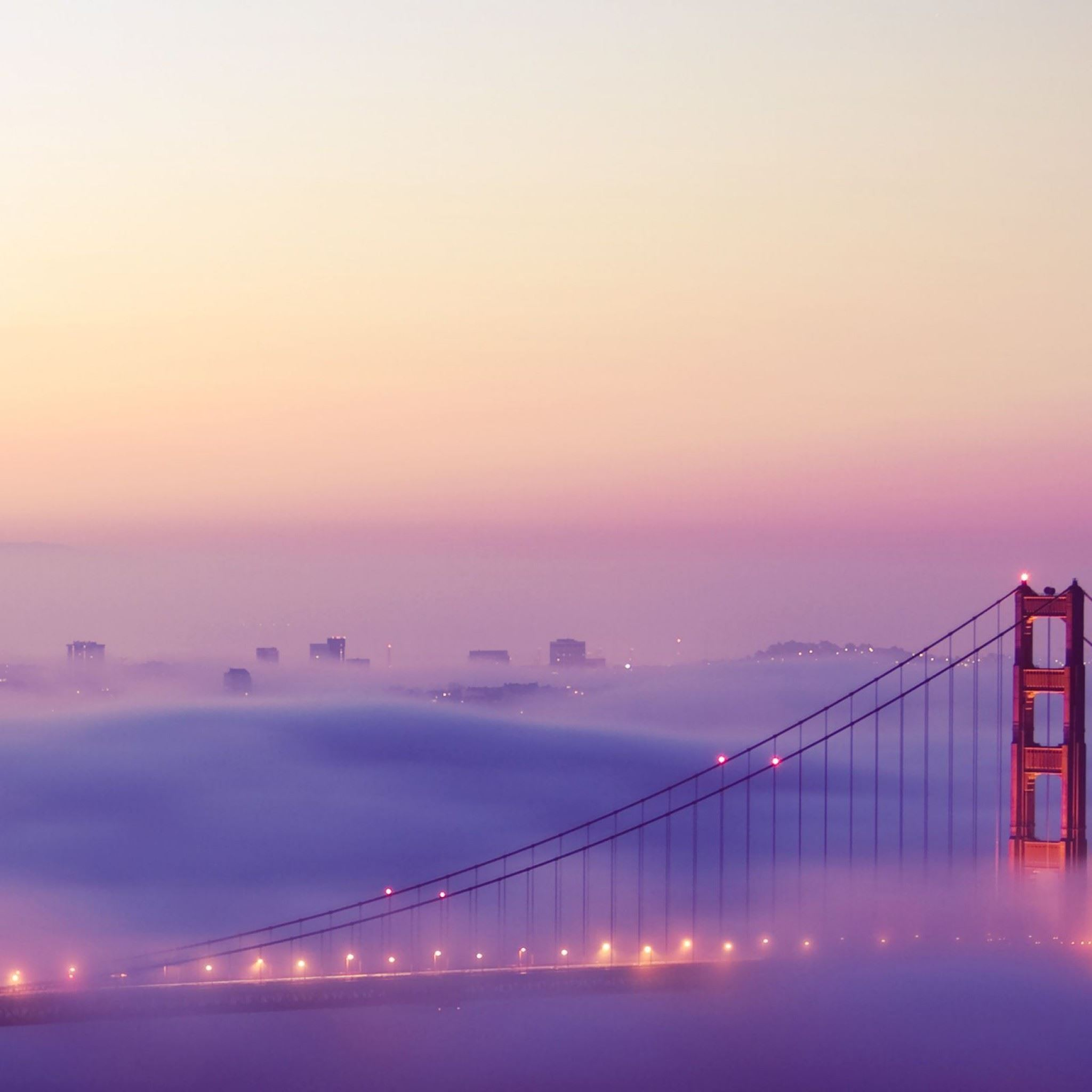 San Francisco Bridge Fog iPad Air wallpaper
