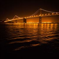 Night Bridge River Ripple Light Landscape iPad Air wallpaper