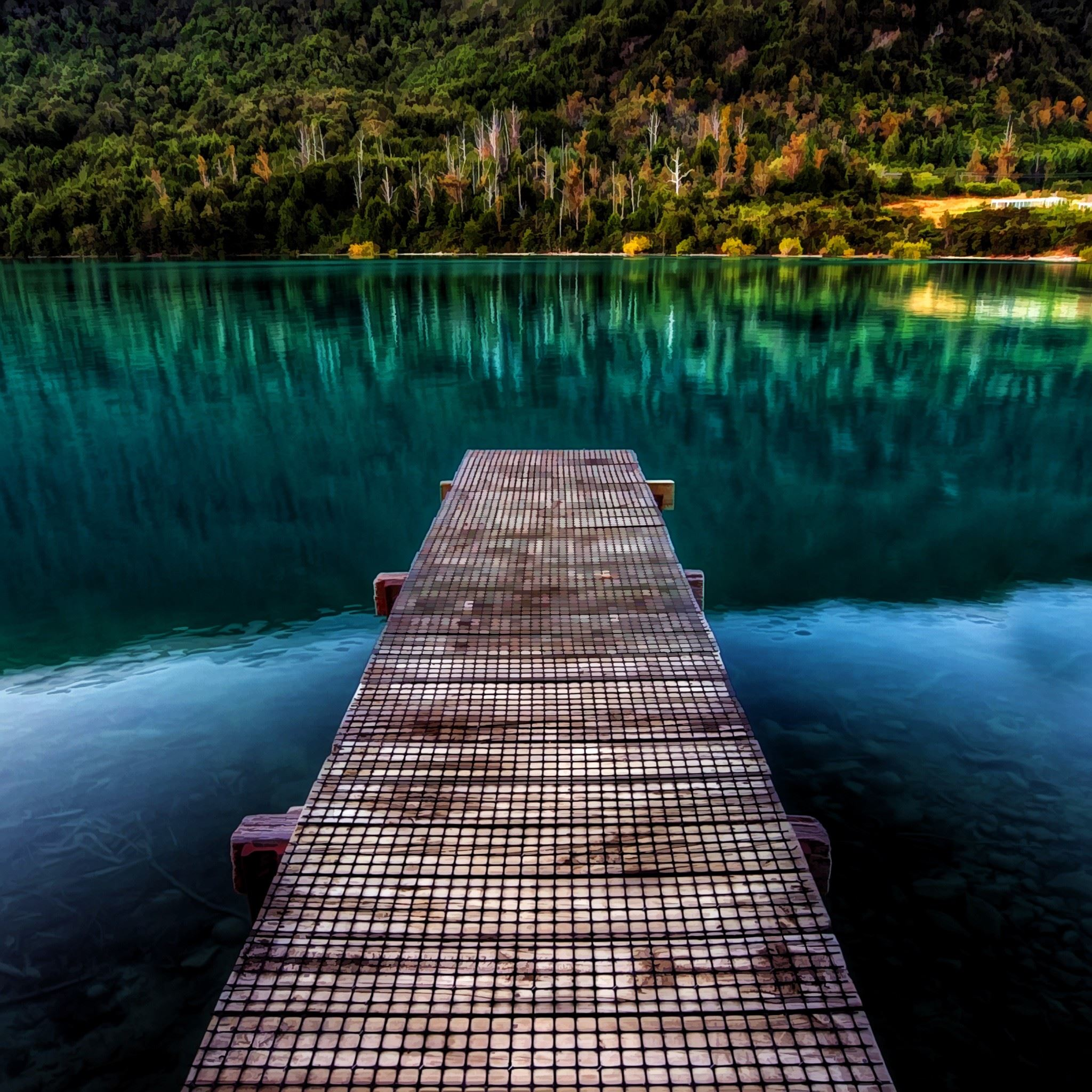 Old Iphone Wallpapers: Pure Beautiful Calm Lake Wooden Bridge IPad Air Wallpaper