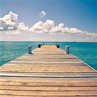 Sunny Endless Ocean Dock View iPad wallpaper
