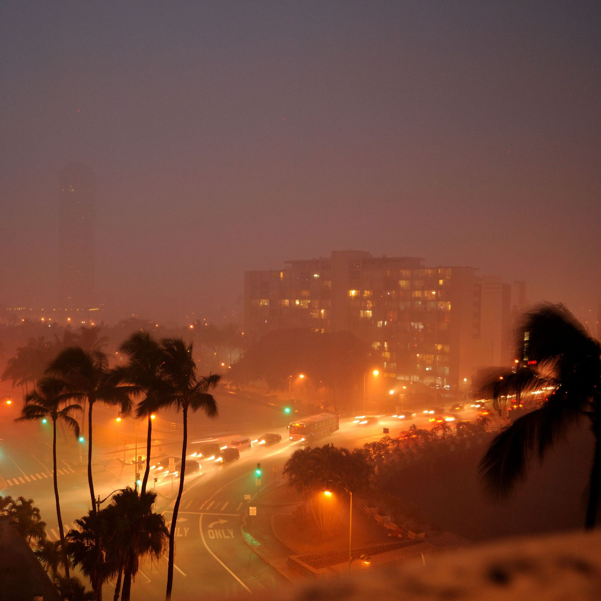 Rainy Tropical Night City IPad Air Wallpapers Free Download