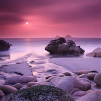 Evening Calming Rock Ocean Sea Landscape iPad wallpaper